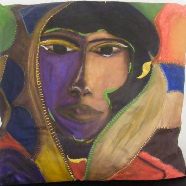 Ethnique / LauWagon . 68 x 68cm - Acrylique, broderies