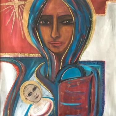 Nativité / LauWagon . Toile encadrée . 60 x 80 cm . Acrylique, broderies