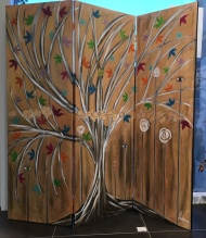 Arbre de Vie / LauWagon . Paravent . 150 x 150 cm . Acrylique, broderies