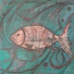 Happy Fish / LauWagon . Toile sur châssis . 60 x 60 cm . Acrylique