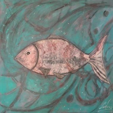 Happy Fish/ LauWagon . Toile sur châssis . 60 x 60 cm . Acrylique