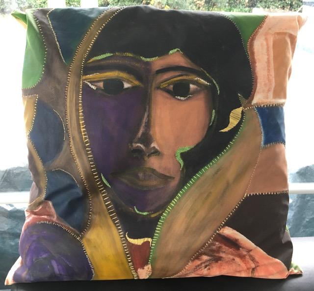 Ethnique . LauWagon - 60 x 60cm - 300€ - acrylique, broderies