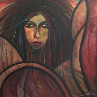 Maternité / LauWagon . Toile sur châssis . 100 x 100 cm . Acrylique